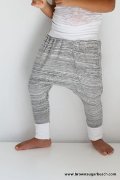 Kids Harem Pants. Softest gray and white marled cotton jersey, white jersey yoga waistband/cuff