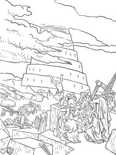 Tower of Babel Coloring Pages for Kids Genesis The Start of our