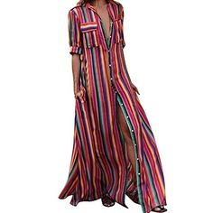 Maternity Styles - oversized maternity maxi dress : iYYVV Women Half Sleeve Striped Multicolor Loose Button Bohe Beach Long Robe Dress *** Visit the photo web link more information. (This is an affiliate link). Beach Dresses, Casual Dresses, Dress Beach, Women's Dresses, Maxi Robes, Striped Maxi Dresses, Everyday Dresses, Two Piece Dress, Maternity Fashion
