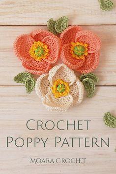 Crochet Poppy Pattern, Crochet Flower Tutorial, Crochet Motif, Crochet Designs, Crochet Flowers, Crochet Hooks, Crochet Patterns, Free Knitted Flower Patterns, Easy Crochet Flower