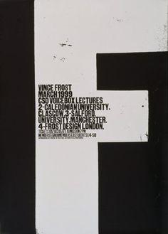 Vince Frost - March 1999 - CSD Voicebox Lectures (Original Plakattext) 1999 Gestaltung: Vince Frost AuftraggeberIn: The Chartered Society of Designers, London, GB Druckerei: unbekannt Web Design, Flyer Design, Layout Design, Design Art, Design Ideas, Typography Layout, Graphic Design Typography, Graphic Art, Typography Inspiration