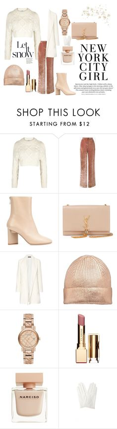 """""""• White & Nude Winter Outfit •"""" by fashion-fields-forever ❤ liked on Polyvore featuring DKNY, Alberta Ferretti, Maison Margiela, Yves Saint Laurent, The Row, Burberry, Clarins, Narciso Rodriguez and Yohji Yamamoto"""