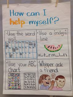 How to help yourself during writers workshop. Kindergarten writing chart- adapt for other grades (appropriate for already) Kindergarten Anchor Charts, Writing Anchor Charts, Kindergarten Literacy, Kindergarten Writers Workshop, Preschool, Work On Writing, Teaching Writing, Writing Activities, Writing Process