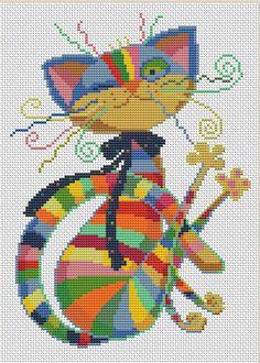 Funny Cross Stitch Patterns, Cross Stitch Designs, Cross Stitch Christmas Ornaments, Christmas Cross, Cross Stitch Tree, Cross Stitch Pictures, Needlepoint Patterns, Cat Colors, Hello Kitty Wallpaper