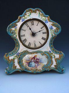 Antique Victorian French Porcelain Sevres Mantle Clock