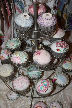 vintage linen pin cushions made in tart tins and jelly molds ....