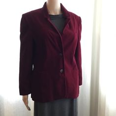 Red Jacket Velveteen Jacket Womens Jacket Crimson Red Blazer Long Sleeves Jacket Extra Large Size