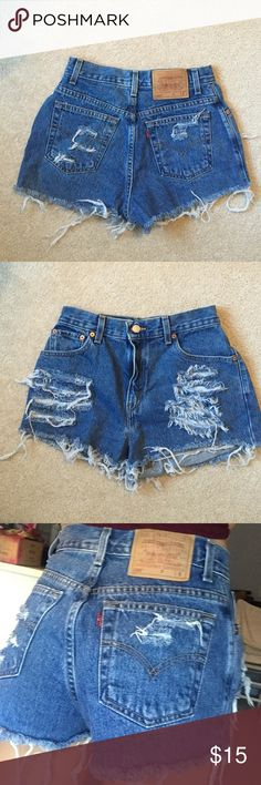 Vintage Levi's Distressed Shorts Authentic vintage! Very cute Levi's shorts with distress in the front and back pockets, and fraying on the legs. Great quality too. Levi's Shorts Jean Shorts