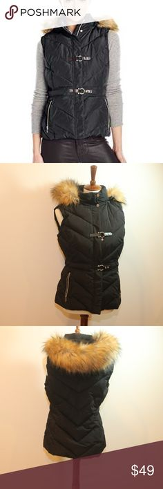 Ivanka Trump Faux Fur Puffer black Vest Sz S Ivanka Trump Faux Fur Puffer black Vest Sz S Silver hardware Black  * Acrylic, Modacrylic, Polyester  * Faux Fur  * Detachable Zippered Hood  * Zippered Front Pockets  * Goldtone Accents  * Front Faux Leather Hook, Snap Closure  * Front Snap, Zipper Closure  * Lined Ivanka Trump Jackets & Coats Vests