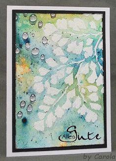 Carola:  Designs by Ryn Maidenhair Fern stencil and sentiment stamp; Versamark through stencil & heat embossing; Brushos