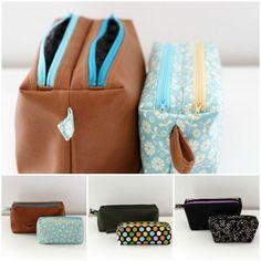 Zip-Zip Kits - Sewing pattern of compartmented kits with double zip Sacôtin - MissFabrik - - Trousses Zip-Zip – Patron couture de trousses compartimentées à double zip Sacôtin Zip-Zip Kits – Sewing pattern of compartmented kits with double zip Sacôtin - Bag Patterns To Sew, Sewing Patterns, Zip Zip, Diy Pencil Case, Diy Sac, Pouch Pattern, Diy Handbag, Craft Bags, Couture Sewing