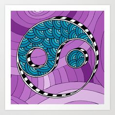 Doodle Yin Yang Art Print by Carrie at Press for Design - $15.00
