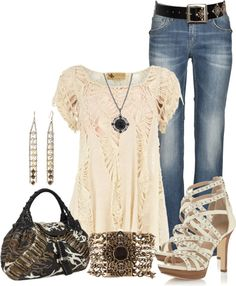 """Untitled #360"" by lisamoran on Polyvore    Miss Me or Silver jeans would look great with this outfit."