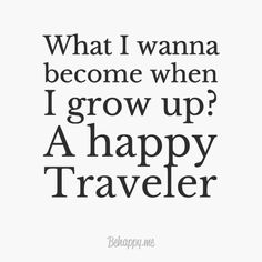 I want to be a happy traveler one day when my kids are all grown up