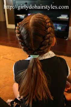 Girly Do's By Jenn: Two Strand Braid. Since my daughter will not stay still to allow me to french braid.