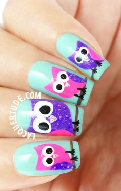 Tutorial : Owl Nail Art Design - Click the Image for the Tutorial!