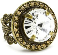 """Sorrelli """"Stardust"""" Fancy Pave Round Cut Clear and Light Gold Crystal Adjustable Ring Adjustable Ring, Style And Grace, Antique Gold, Jewelry Stores, Pocket Watch, Bracelet Watch, Jewelry Rings, Fancy, Crystals"""
