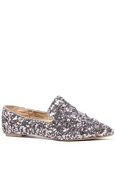 The Lotus Glitter Flat in Pewter $44.00