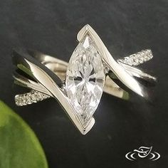 Platinum Wrap Setting for a Marquise diamond | Custom Jewelry Design at Green Lake Jewelry Works