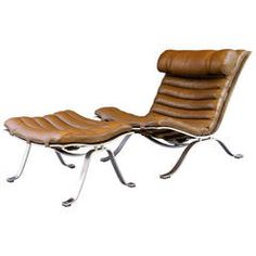 Arne Norell 'Ari' Lounge Chair in Leather with Ottoman
