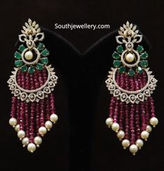 Latest jhumkas by Ananth Diamonds Jewelry Design Earrings, Ruby Jewelry, Gold Jewellery Design, Beaded Jewelry, Fine Jewelry, Earrings Photo, Jewellery Earrings, Big Earrings, Diamond Earrings Indian