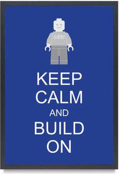Legoman Lego Minifigure Keep Calm And Build On by Bardaron - - kids decor - - by Etsy