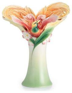 Franz Porcelain Collection Shangri-La Bird Of Paradise Flower Large Vase
