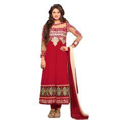Graceful Maroon Georgette #Anarkali #Churidar #SalwarKameez #Dress #Fashion #AnarkaliKameez #Clothing