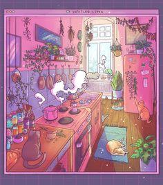 Aesthetic Drawing, Aesthetic Anime, Aesthetic Art, Kawaii Drawings, Cute Drawings, Japon Illustration, 8bit Art, Isometric Art, Witch Art