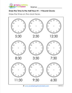 Telling time worksheets for first grade include telling time to the hour and half hour. Draw the hour and minute hands on the clocks or write the times you see on the clock faces. Or, make your own clock! Analog and digital versions available.