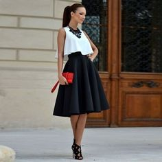 Charlee Cooper Black Knee Length Skater Skirt and Top Set