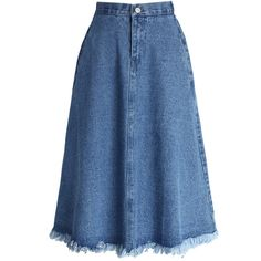 Chicwish A-line Midi Denim Skirt with Tassel Trim ($40) ❤ liked on Polyvore featuring skirts, bottoms, blue, knee length a line skirt, high-waisted midi skirts, a line midi skirt, blue a line skirt and high waisted skirts