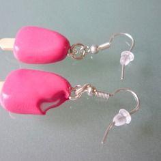 Boucles d'oreilles esquimau fuchsia, bijou gourmand