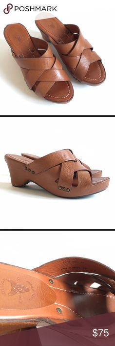 """Frye wedge Thomasville sandals In excellent condition! Leather upper and footbed. Rubber sole. 3"""" heel. Frye Shoes Sandals"""