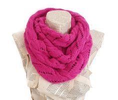Neon Pink infinity Scarf Women Scarves Knitting scarf by HeraScarf, $32.90