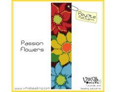 Peyote Bracelet Pattern: Passion Flowers от VikisBeadingPatterns