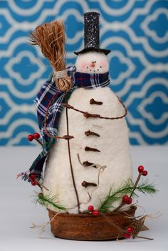 Whimsical Snowman, Whimsical Primitive Snowman, Snowman in Vintage Style Rusty…