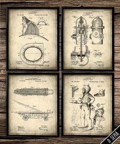 Vintage patent firefighter print patent art patent poster blueprint art…