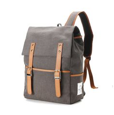 Belt point Cotton Backpack Charcoal Gray by BagDoRi on Etsy, $78.00 | cotton, synthetic leather, shipping extra 19 dollars