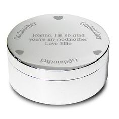 www.hastings-crystal.co.uk >> Special Occasions >> Baby & Christening >> Godparent Gifts >> Godmother Personalised Round Trinket Pot