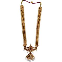 Temple Jewelry Long Necklace With Kemp & Pearls. Temple jewellery dance sets USA