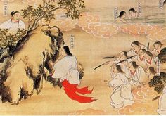 Izanagi god getting out of the underworld and Izanami, who reigns the underworld now.