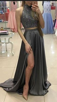 Simple Prom Dresses, two pieces prom dresses beaded prom dresses gray prom dresses front split prom dress long prom dresses modest prom dresses sparkly prom dresses LBridal Split Prom Dresses, Sparkly Prom Dresses, Grey Prom Dress, Prom Dresses Two Piece, Prom Dresses For Teens, Prom Dresses 2017, Elegant Prom Dresses, Beaded Prom Dress, Prom Party Dresses
