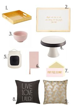 Black gold and blush gift guide and home decor