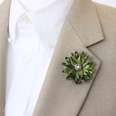 Mens Lapel Flower Green Lapel Flower for Men Green Boutonniere Men's Lapel Flower Pin Father of the Bride Gift for Dad Gifts for Men