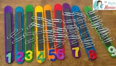 Kindergarten: The Elementary Math Maniac: Quick and Fun Math Practice for Little Kids. Another cute way to show number recolonization and one to one correspondence. Numbers Preschool, Math Numbers, Math Classroom, Kindergarten Math, Teaching Math, Math Activities, Preschool Activities, Math Games For Preschoolers, Activities For Autistic Children