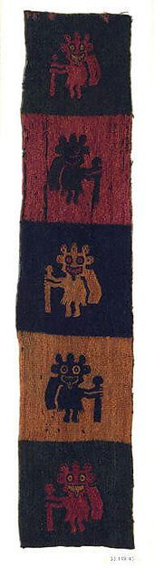Border fragment, figures with staves  Date:4th–3rd century B.C. Geography:Peru Culture:Paracas Medium:Camelid hair Accession Number:33.149.43