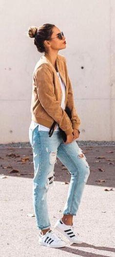 Fashion - Ripped Denim Jeans  White  Black adidas Shirt* Hoodie/Jacket and Superstars
