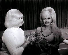 Diana Dors and Jayne Mansfield compare doggies, 1960s.