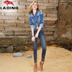 Winter Stylish embroidered decoration feet pencil pants Slim was thin waist jeans female